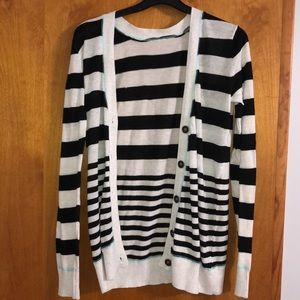 Black and white striped button down cardigan